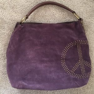 LUCKY BRAND - Purple Suede Bag - Peace-sign Studs